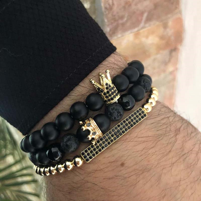 3Pc/Lot Micro Pave Black CZ Zirconia Gold King Crown & Bar Charm Bracelet Sets Men Stone Bead Bracelet Valentine Women Jewelry
