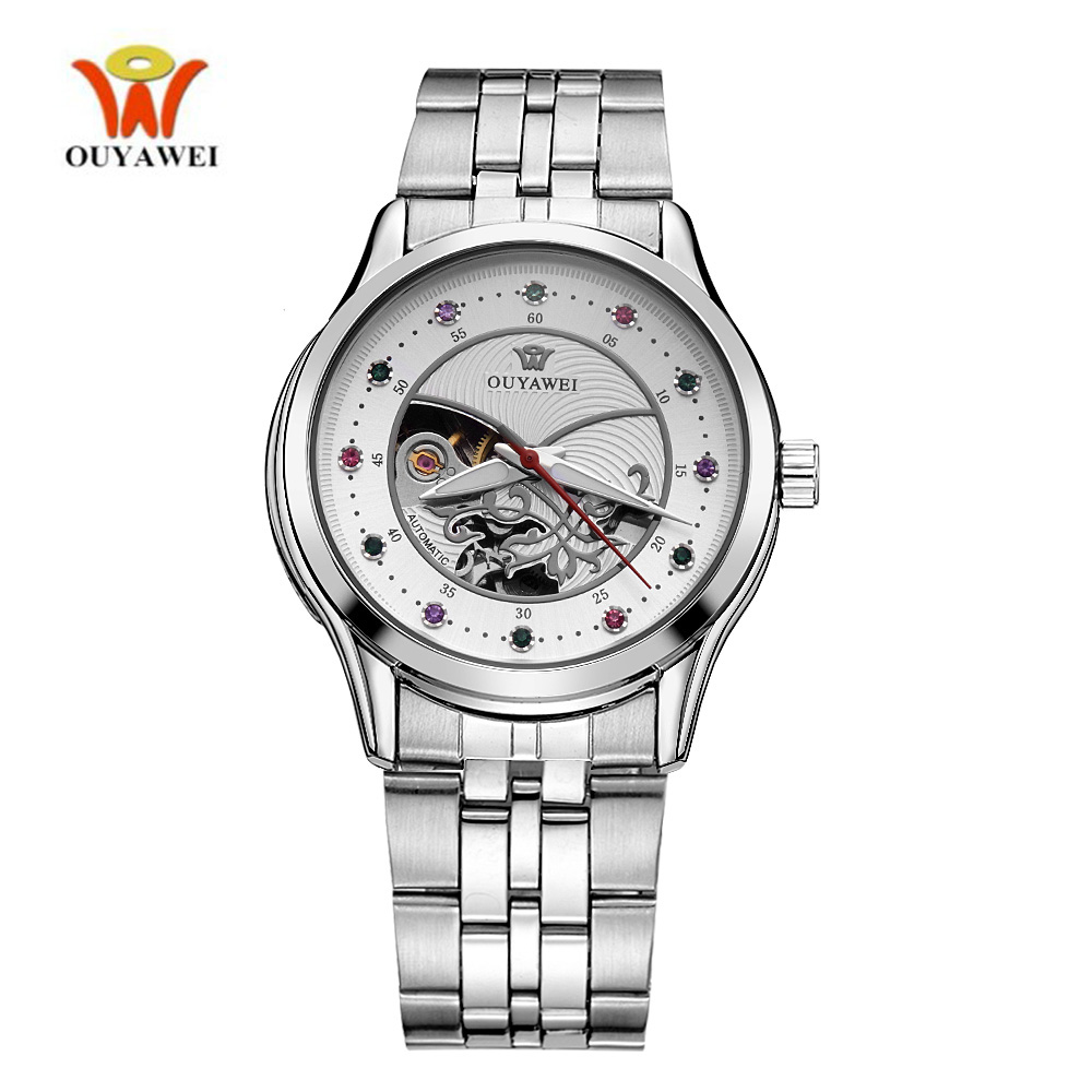 OUYAWEI Ladies Brand Diamond Luxury Hollow Mechanical Automatic Watch Women Fashion Dress Skeleton Watch Silver Steel Band WristOUYAWEI Ladies Brand Diamond Luxury Hollow Mechanical Automatic Watch Women Fashion Dress Skeleton Watch Silver Steel Band Wrist