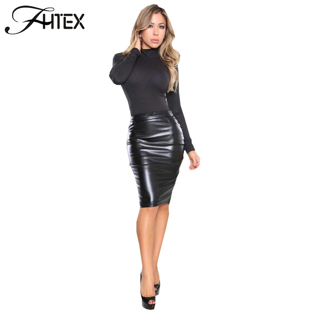 Aliexpress.com : Buy Autumn Winter Skirt Women High Waist PU ...
