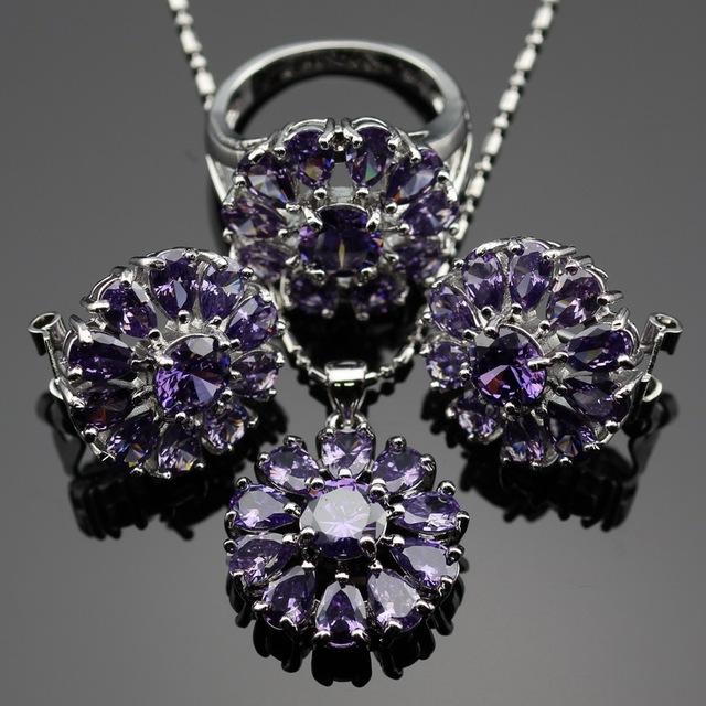 Lan En Forma de Flor 2016 Caliente Sistemas de La Joyería Púrpura AAA Circón Para El Collar Colgante/Pendiente/Del Anillo Para la boda Del Envío gratis