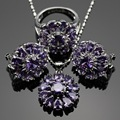 Lan Flower  Shaped 2016 Hot Jewelry Sets Purple AAA Zircon For Necklace Pendant /Earring /Ring For wedding Free Shipping