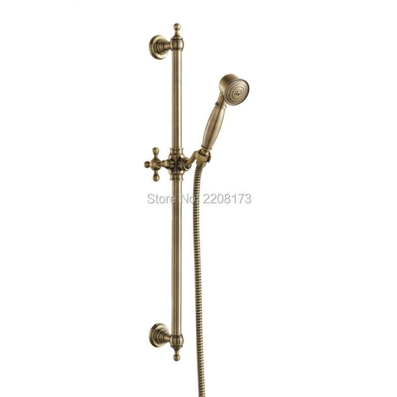 Royal Deluxe Classic Design Solid Copper Mano Soffione doccia con Regolabile Barra Scorrevole, Olio di Bronzo Lucidato Nero O Antico bronzo - 2