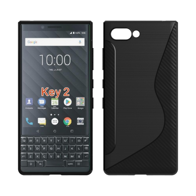 For Blackberry Key2 Soft Case S Line Carbon Fiber Drawing Silicone Flexible Tpu Cover Athena Key Two 2