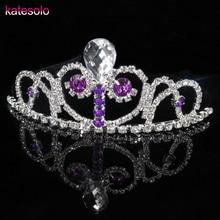 Luxury Elegant Purple Crystal Bridal Crown Girls Tiaras Hair Jewelry Ornaments Hairwear Bride Wedding Hair Accessories