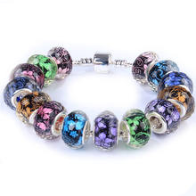 10pcs Mixed Flower Floral Print Cut Faceted Big Hole Plastic Resin Beads fit for Pandora Bracelet DIY Jewelry Making Accessories недорого