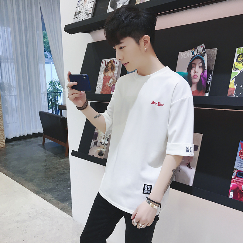 2018 Spring And Summer New Korean Style Men\u0027s Fashion Casual Letter Solid  Color Short Half Sleeve Clothes T shirt Male M 3XL,in T,Shirts from Men\u0027s  Clothing
