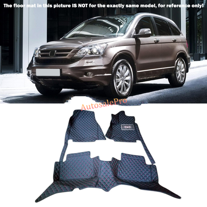 For Honda CRV CR-V 2007 2008 2009 2010 2011 Left Hand Drive! Black red grid Front Rear Floor Mat Carpets Pad Cover car rear trunk security shield shade cargo cover for nissan qashqai 2008 2009 2010 2011 2012 2013 black beige