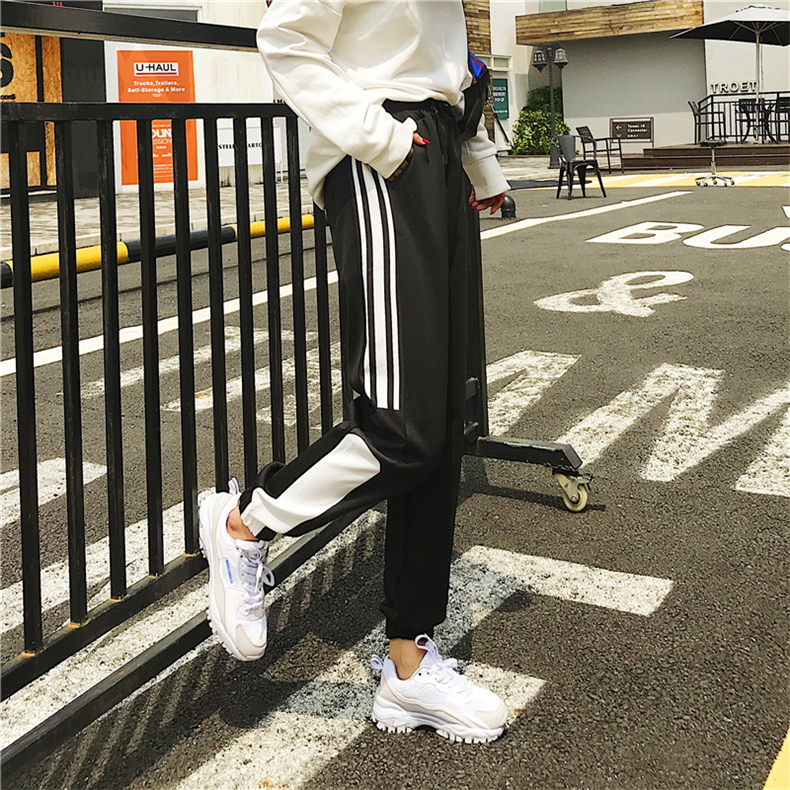 Cargo Pants Women Patchwork Long Pants High Waist Side Striped Black Trousers Student Elastic Waist Harajuku Plus Size Bottoms 59