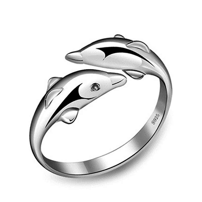 OMHXZJ סיטונאי אישיות אופנה OL אישה ילדה מסיבת חתונה מתנת כסף דולפין פתוח S925 סטרלינג כסף טבעת RN279
