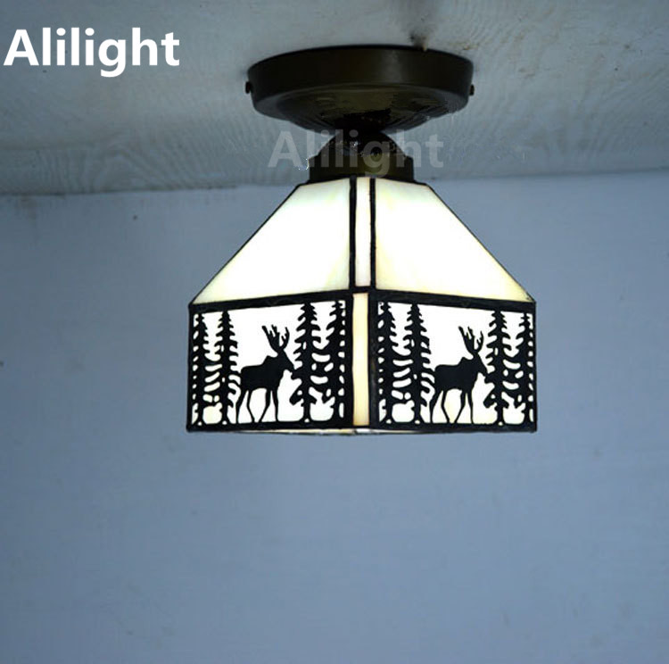 Elk Pattern Tiffany Ceiling Light Stained Glass Lampshade Ceiling Lamp  Kitchen Indoor Lighting E27 Home Decor