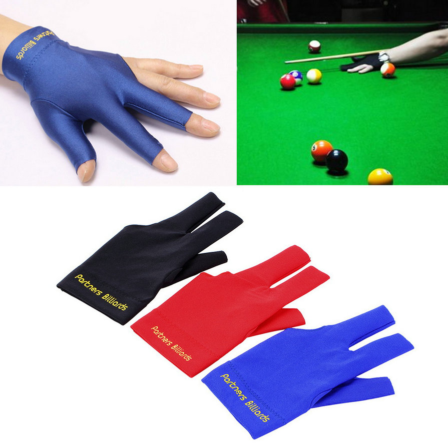 Spandex Snooker Billiard Cue font b Glove b font Pool Left Hand Open Three Finger Accessory
