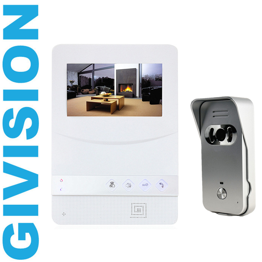 4.3 inch TFT Color wired Video door phone Intercom Touch key doorphone kit IR system outdoor Pinhole door camera free shipping new wired 7 inch color tft touch white monitor video doorphone intercom system night vision door camera in stock