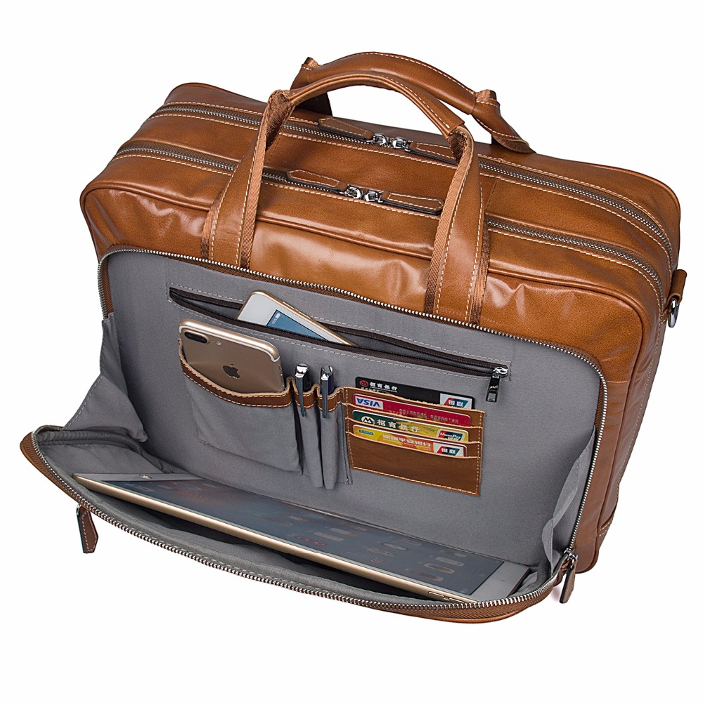 Augus Large Capacity Business Briefcase Durable And Fashional Laptop Bag Classic Handbag For Business Men Leather Bag 7380B augus 100% genuine leather laptop bag fashional and classic crossbody bags leather for men large capacity leather bag 7185a