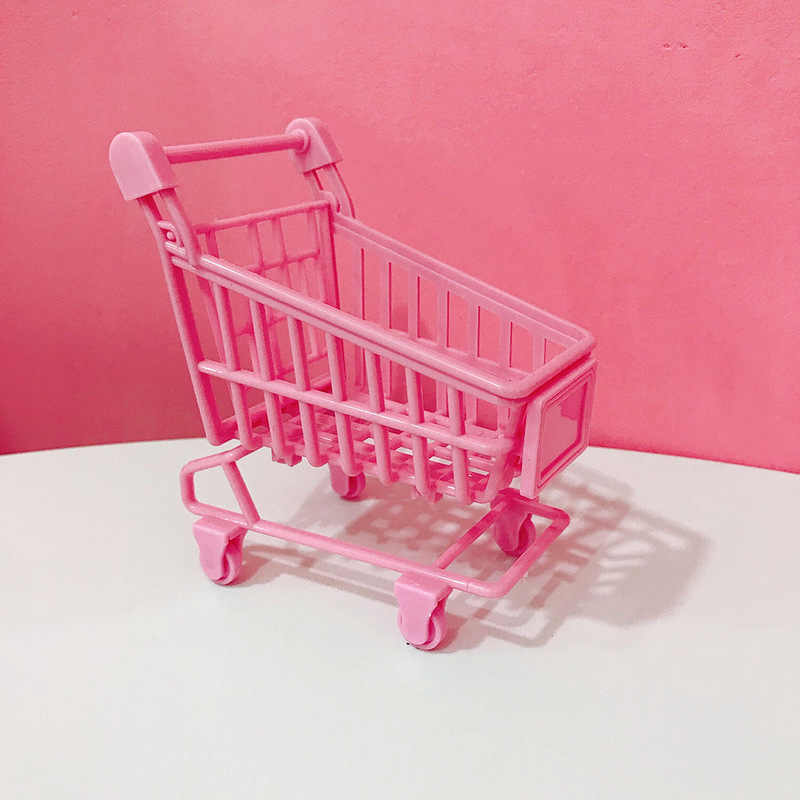 Mini Cute Pink Kereta Dorong Gadis Foto Pink Keranjang Belanja Simulasi Mobil Trolley Bayi Bermain Rumah Mainan