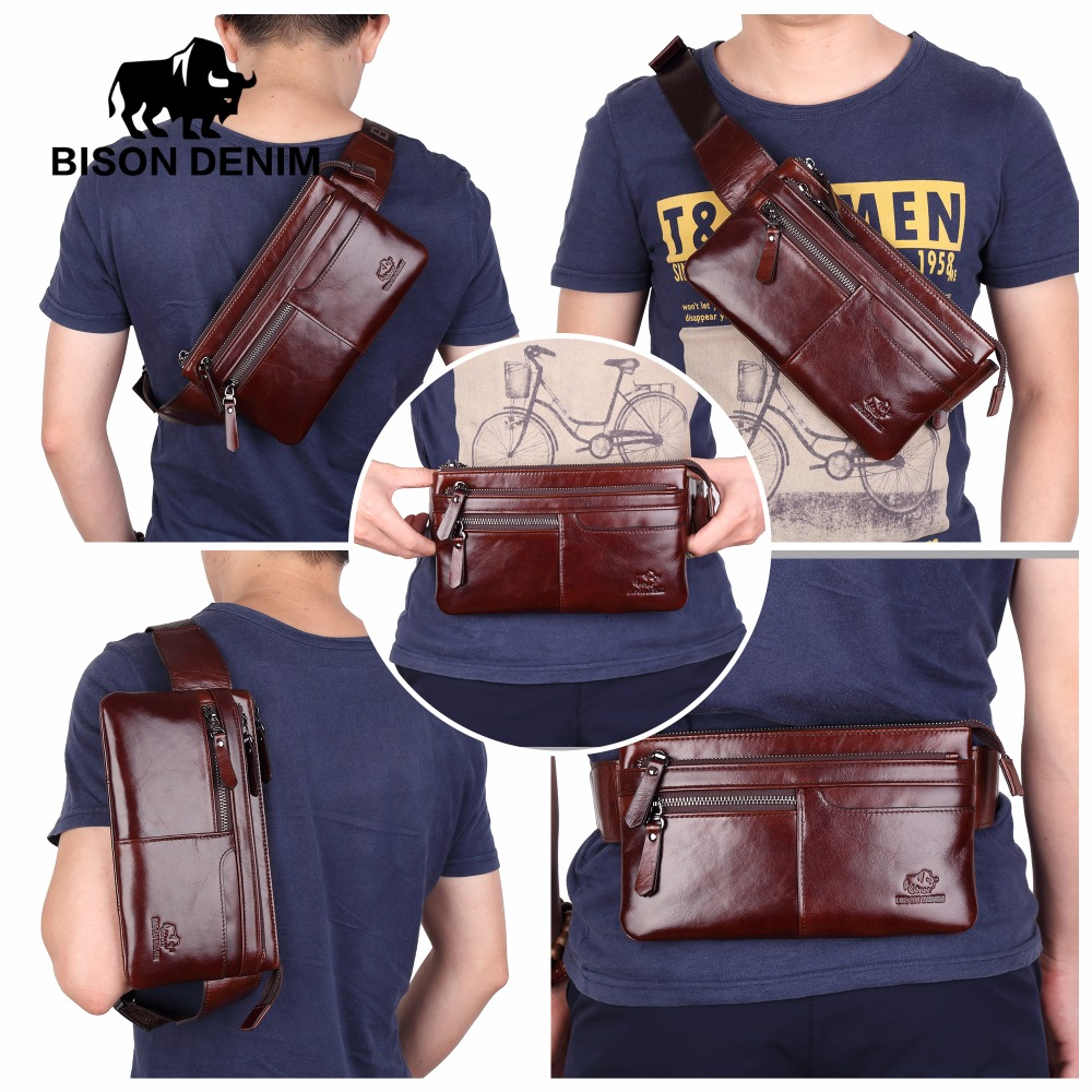 BISON DENIM Leather Waist Pack Genuine Leather Waist bag Ipad Mini Cowhide waist pack bag money belt waist pouch Men Bag W2443 waist bag