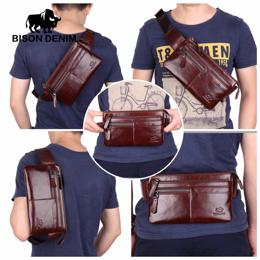 BISON DENIM Leather Waist Pack Genuine Leather Waist bag Ipad Mini Cowhide waist pack bag money belt waist pouch Men Bag W2443