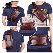 Bison Denim Vintage Echtem Leder Taille tasche Ipad Mini Rinds hüfttasche tasche geld gürtel taille beutel Männer Tasche W2443 & 4