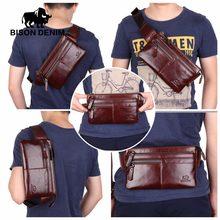 618bb0bfd1062 (Ship from US) BISON DENIM Leather Waist Pack Genuine Leather Waist bag  Ipad Mini Cowhide waist pack bag money belt waist pouch Men Bag W2443