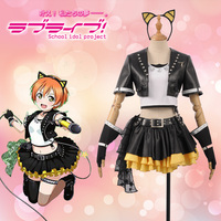 Love Live! Rin Hoshizora Fancy Stage Girls Black Leather ROCK Awakening Cosplay Costume Adult Outfit Hair Band Dress + Stockings