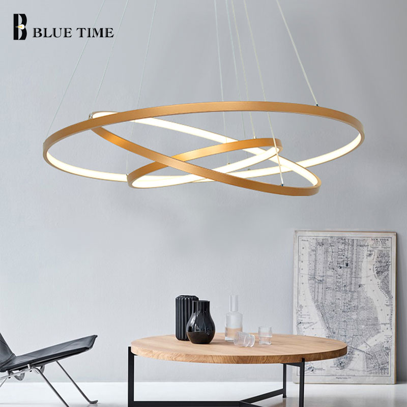 Rings Modern LED Pendant Light For Living Room Dining room Led Lustres Circle LED Pendant Lamp Home Hanging Mount Ceiling lamp lican dining living room modern led pendant light aluminum hanging lamps home illumination minimalism home deco pendant lamp led