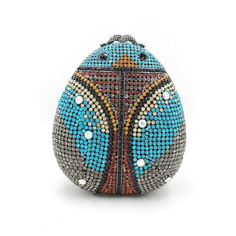 Ladies handbag Bridal wedding party purse women evening party bag diamonds animal Ladybug crystal clutches elegant