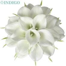 24pcs White Mini Calla Lily 14 Bridal Wedding Bouquet Latex Real Touch Flower Bunch Home Decor Free Shipping