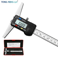 "0 150mm 6"" Metric Imperial Digital Depth Vernier Caliper Micrometer Stainless Steel Electric Digital Depth Gauge