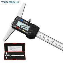 """0 150mm 6 """"Metric Imperial Digitale di Profondità Vernier Compasso di Micrometro Calibro Digitale di Profondità Elettrico In Acciaio Inox"""