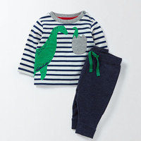 Jumping Meters Autumn Spring Boys Clothing Sets Applique Children Clothes Long Sleeve Knitted Stripes Kids Boys
