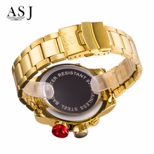 ASJ Mens Fashion Casual Sport Watch Alarm Date Digital Stopwatch Leather Strap LED Male Military Clock Army Gold Quartz Watches