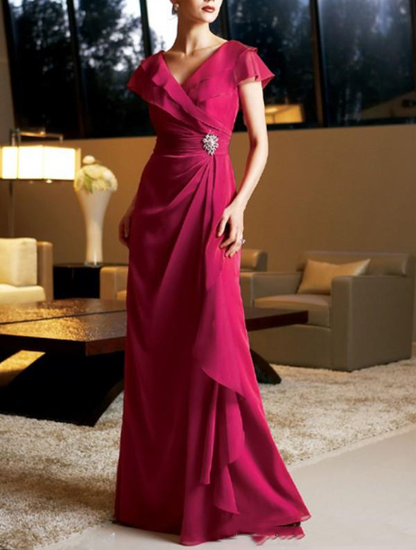 Elegant Fushia Chiffon V Neck Cap Sleeves Mother Of The Bride Dress Long With Crystals Plus Size Vestido Mae Da Noiva