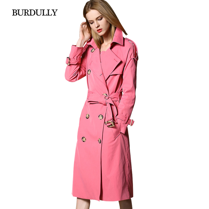BURDULLY 2019 Winter Casual Europe British Style Long   Trench   Coats For Women Double Breasted Outwear Coat Windbreaker Classic