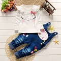 2016 Autumn girls infants baby kids long sleeve t-shirt+cartoon denim jeans bib Jumpsuit Overalls pants 2PCS clothing sets S3773