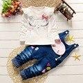 2016 Outono meninas crianças bebê crianças manga comprida t-camisa dos desenhos animados + calças jeans jardineiras Jumpsuit calças Macacão 2 PCS define vestuário S3773