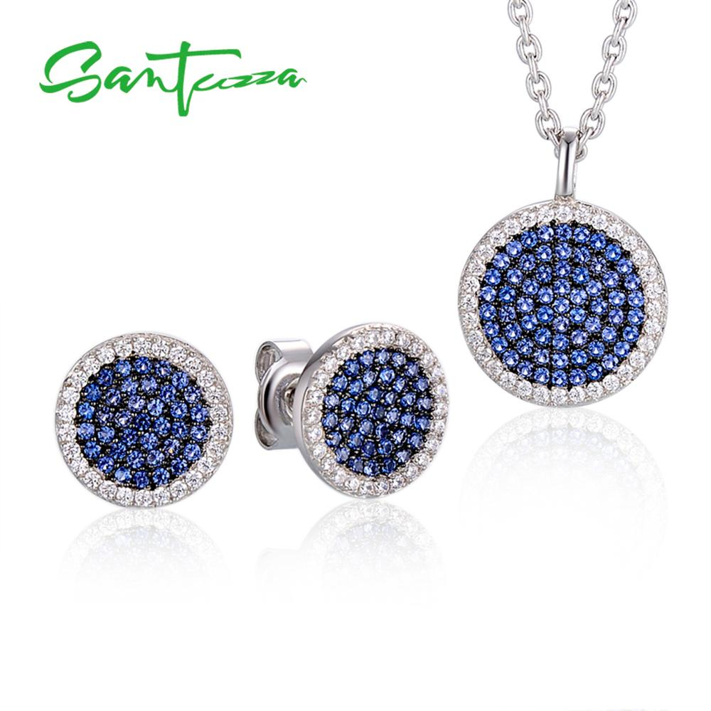 Small Blue Earrings: Jewelry Sets For Women Small Round Blue CZ Stones Jewelry
