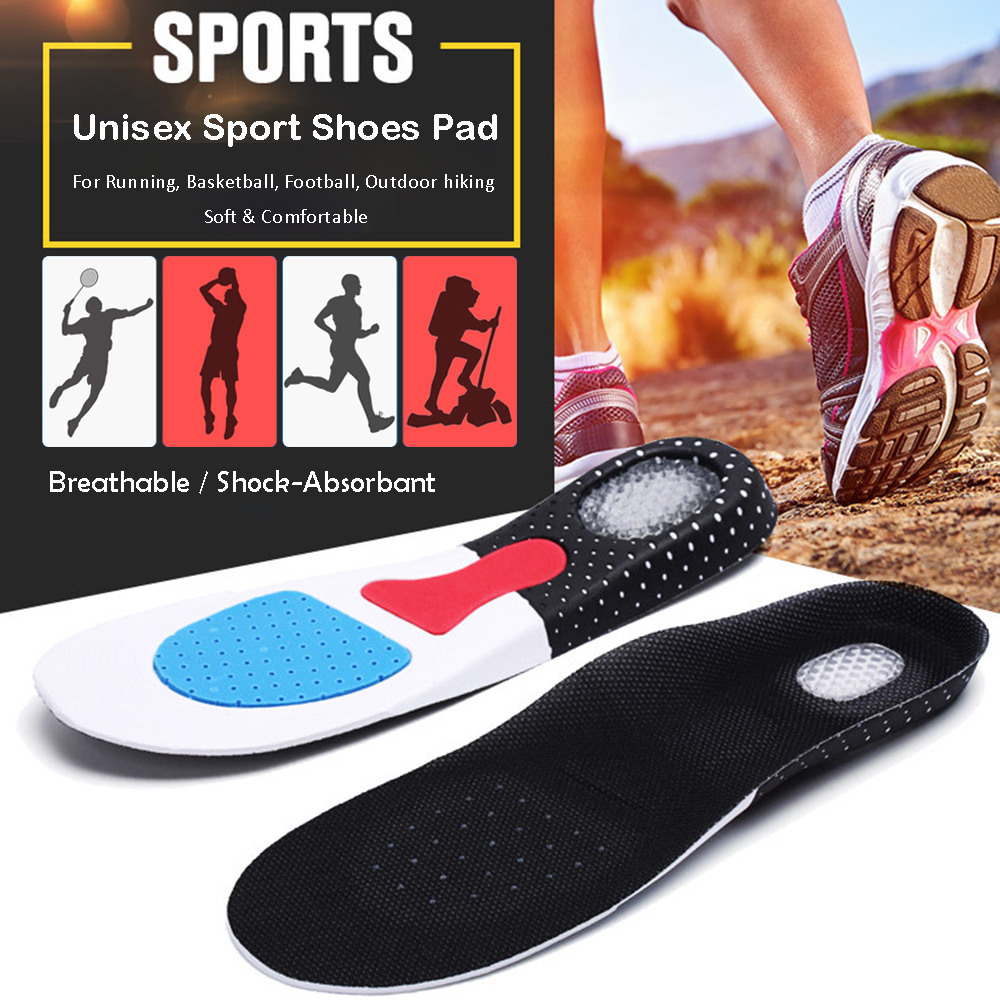 Silicone Soft Unisex Sport Shoes Pad Light Weight Sweat and Shock-Absorbant Sport Insoles for Basketball Football Outdoor Hiking термоноски guahoo sport mid weight 150 cf bk