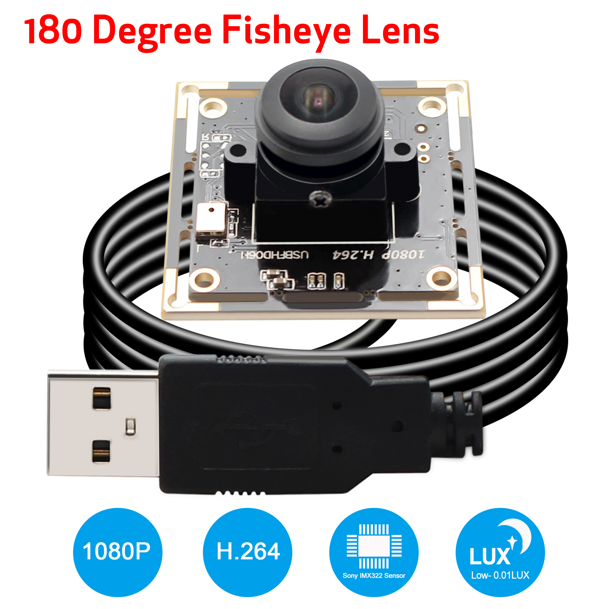 H 264 Star Light Low illumination Fisheye Wide View Angle 180degree Sony IMX322 2MP Full HD