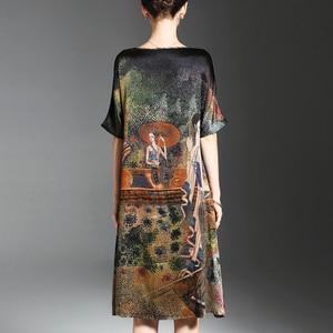 Image 3 - فستان صيفي بتصميم رسمة عرقية عتيقة للنساء فساتين ناعمة من الحرير نصف كم أنيقة للنساء ماركة Vestidos برقبة دائرية مقاس كبير