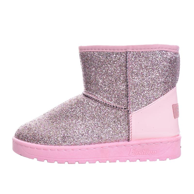 хи Гранд/с сияющими блестками женские снегоступы толстые теплая мех плоская платформа хлопка блестками ткань ботильоны зимняя обувь xwx4618