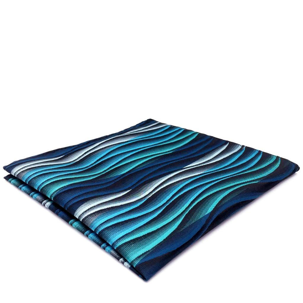 YH23 Mens Pocket Square Turquoise Multicolor Ripple Abstract Classic Silk Hanky 12.6