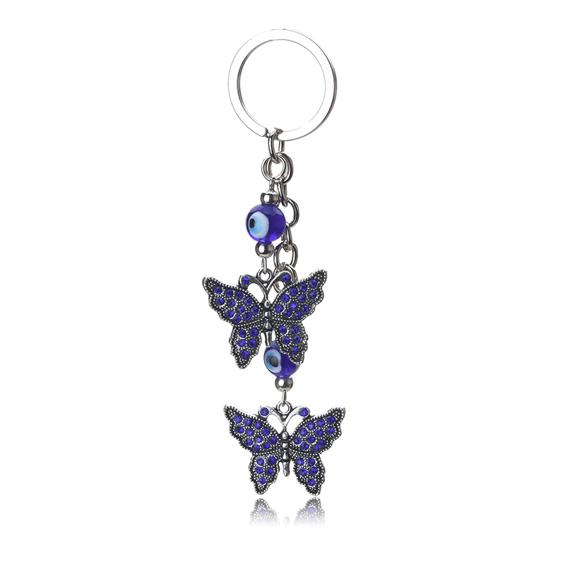 1pc Lucky Evil Eye Charms Keychain Butterfly Pendent Tassel Key Chain Crystal Car Key Chain Women Fashion Jewelry Gifts