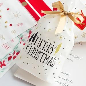 Image 2 - 10pcs Golden Christmas Tree Gift Bags Biscuit Plastic Cake Drawstring Bag for Xmas Party Home Decoration bolsas regalo navidad
