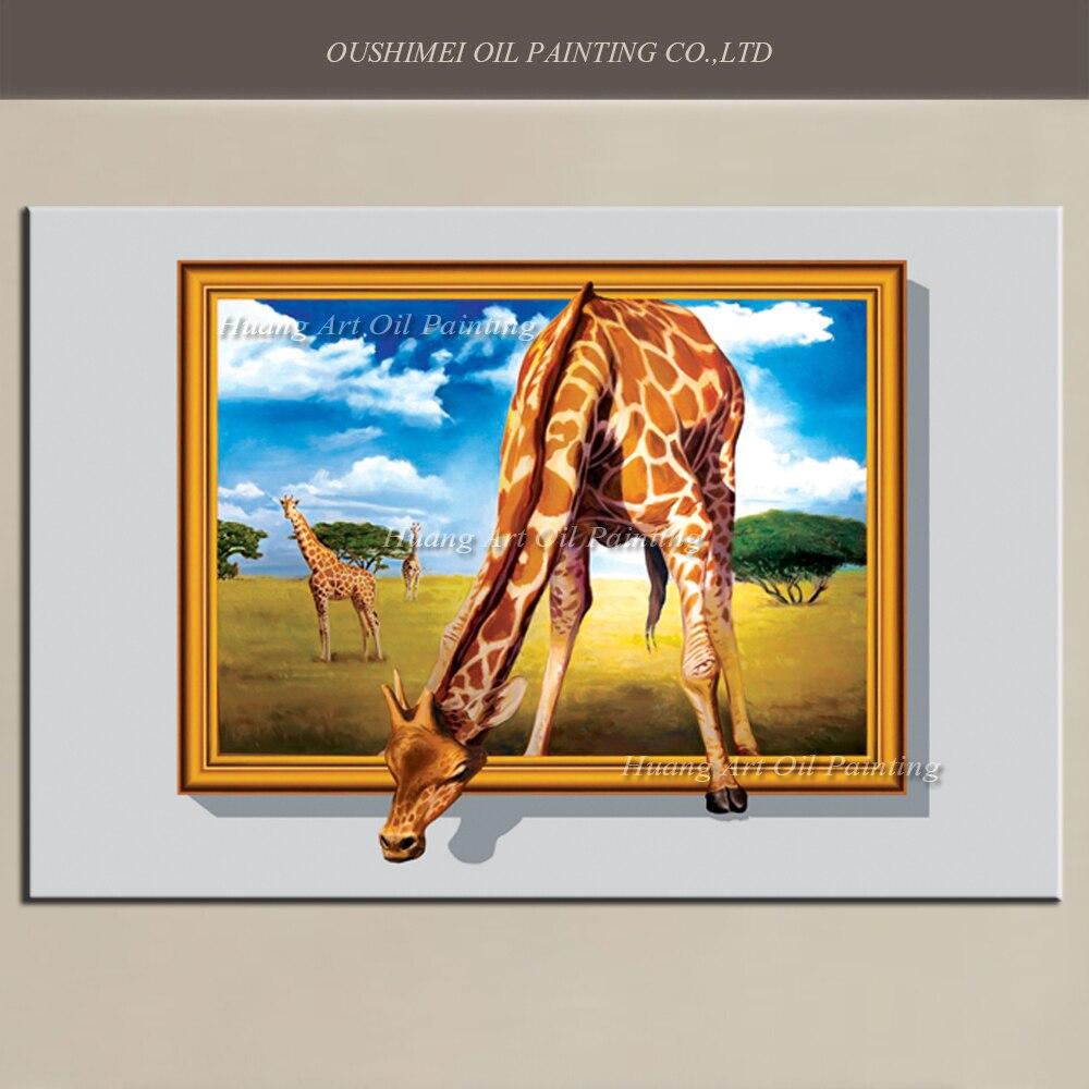 Aliexpress.com : Buy New 3D Giraffe Oil Painting Big Size