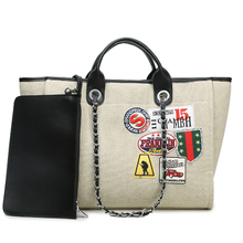 large big Jumbo beach bag luxury brand chains canvas shopping bags handbag totes bag high quality for women
