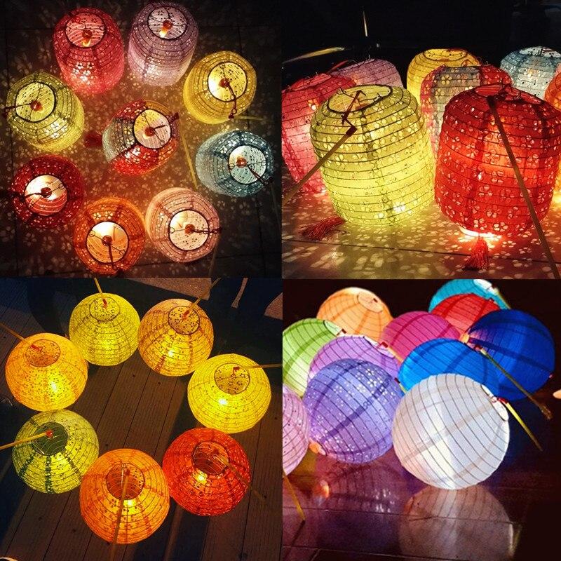 10sets cylindrical hollow paper lanterns Children 39 s Handheld DIY Lantern Flash Luminous lampion birthday party New Year supplies in Lanterns from Home amp Garden