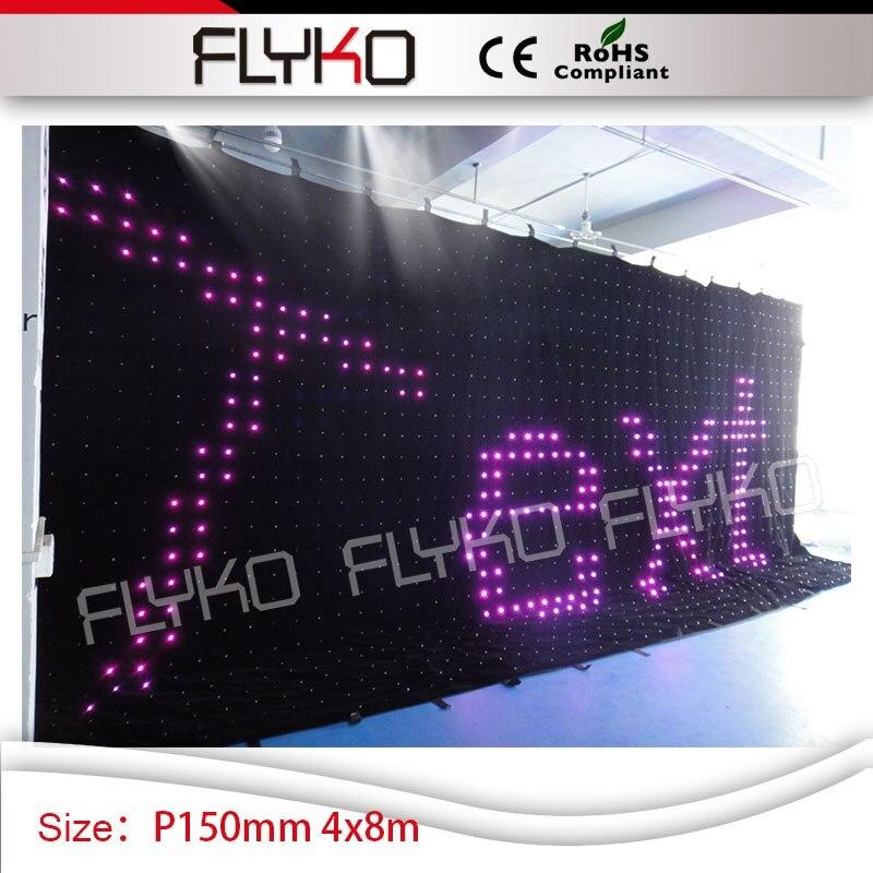 led lamp flashlight display P150mm SD controller 4m*8m video curtain led screen