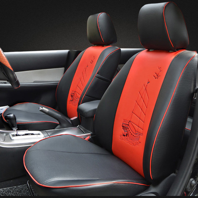 AutoDecorun Custom PU Leather Automobiles Seat Covers For VW Volkswagen Scirocco Cover Cars Seats Cushion Supports Headrest