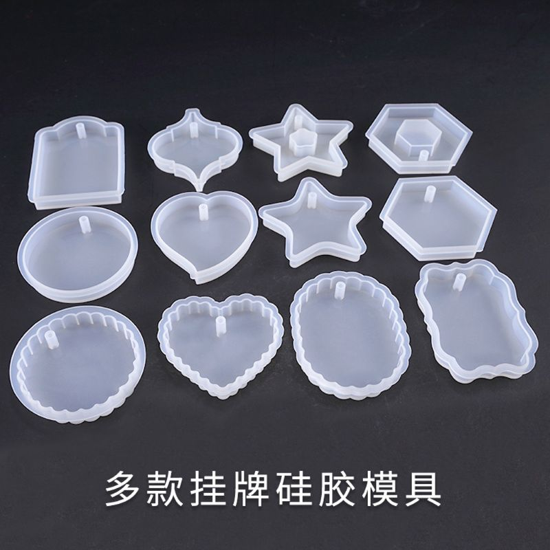 UV Resin Mold Heart Square Round Pendant DIY Mold Resin Casing Craft Jewelry Making Tools