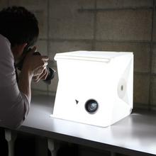 Przenośny składany lightbox Fotografia LED Light Pokój Photo Studio lekki namiot soft box Backdrops dla cyfrowej DSLR Camera tanie tanio GOLDFOX Uproszczone Studio fotograficzne Box Cube mini Light D3604 Akryl + tworzywo ABS 24 5 x 23 8 x 22 3 cm 9 6 x 9 3 x 8 7