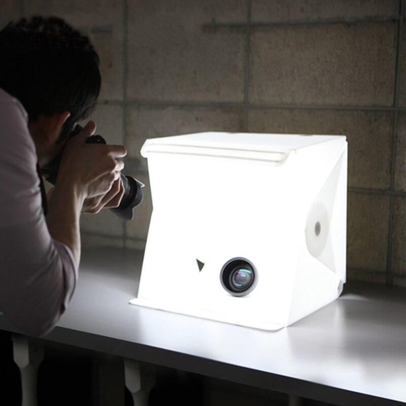 Tragbare Falten Leuchtkasten Fotografie LED Licht Zimmer Foto Studio Licht Zelt Weiche Box Kulissen für Digitale DSLR Kamera